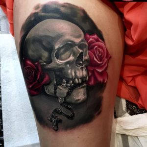 Scull, Rosary & Roses