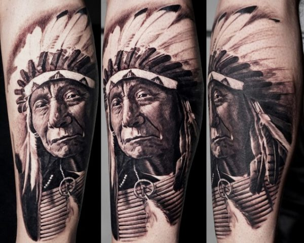 1bbd36804 Tattoo Category: Realism. Eagle sleeve. Eagle sleeve. Red Cloud native  american chief